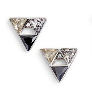 REBECCA MINKOFF Triangle Stone Stud Earrings